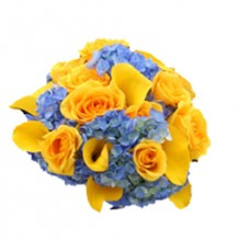 Blue Hydrangea, Yellow Calla Lilies & Yellow Roses